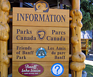 Banff Parks Canada Informtion Sign